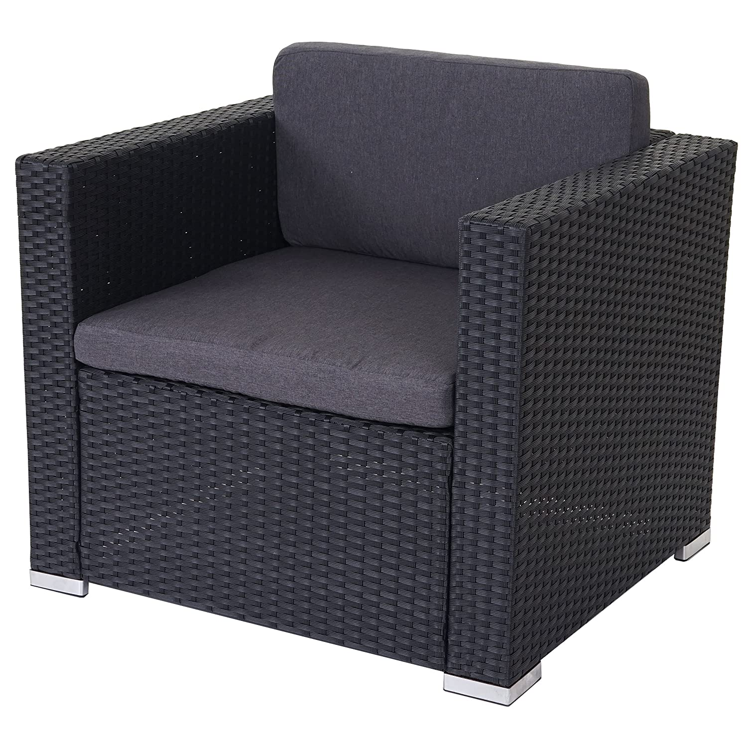 Modulares Poly-Rattan Sofa ROM Basic, Sessel Loungesessel, Alu ...