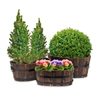 Relaxdays Set de 3 caches-pot ou vases en bois de sapin pour fleurs plantes panier terrasse jardin balcon effet fût ou tonneau
