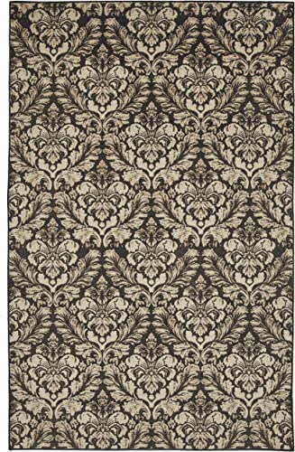 Mohawk Home Prismatic Bonjour Damask Charcoal Printed Contemporary Area Rug, 8 x10 Gray