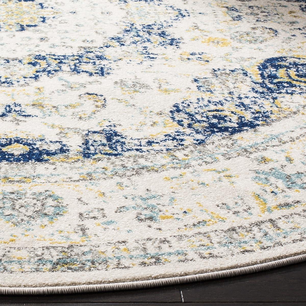"Safavieh Evoke Collection EVK220C Vintage Oriental Ivory and Blue Round Area Rug (67"" Diameter)"