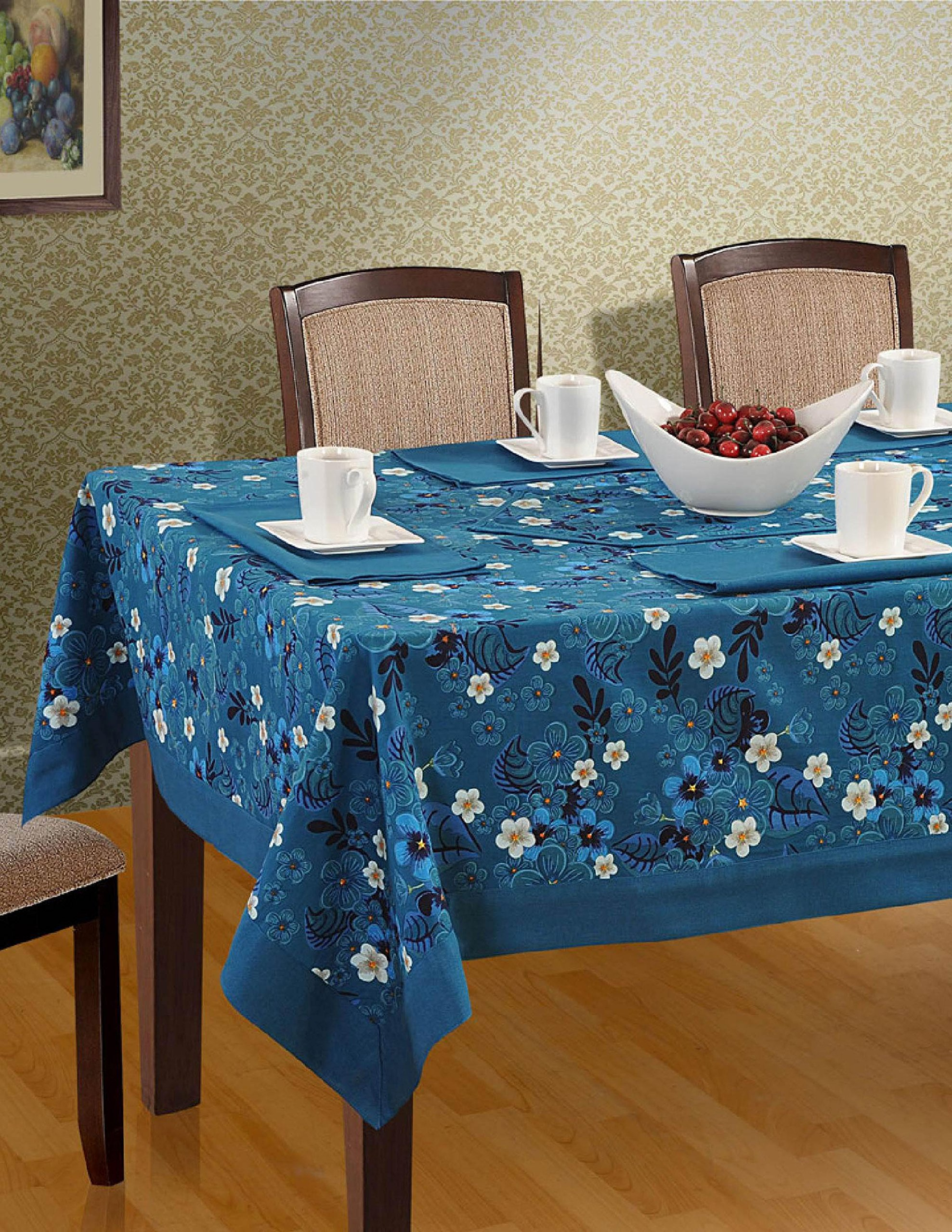 ShalinIndia Colorful Rectangular Patterned Cotton Tablecloth 144'' x 60'' Midnight Blue Blossom Floral