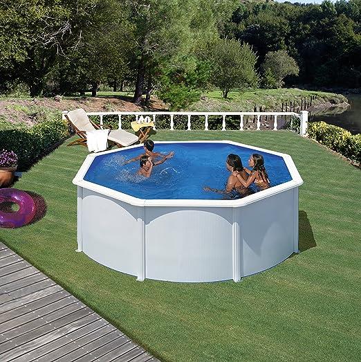 Gre KIT300ECO Fidji - Piscina Elevada Redonda, Aspecto Acero Blanco, 300 x 120 cm: Amazon.es: Deportes y aire libre