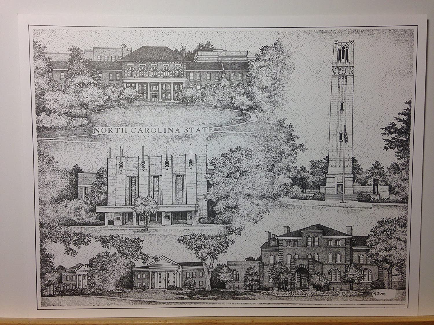 North Carolina State pen and ink collage print