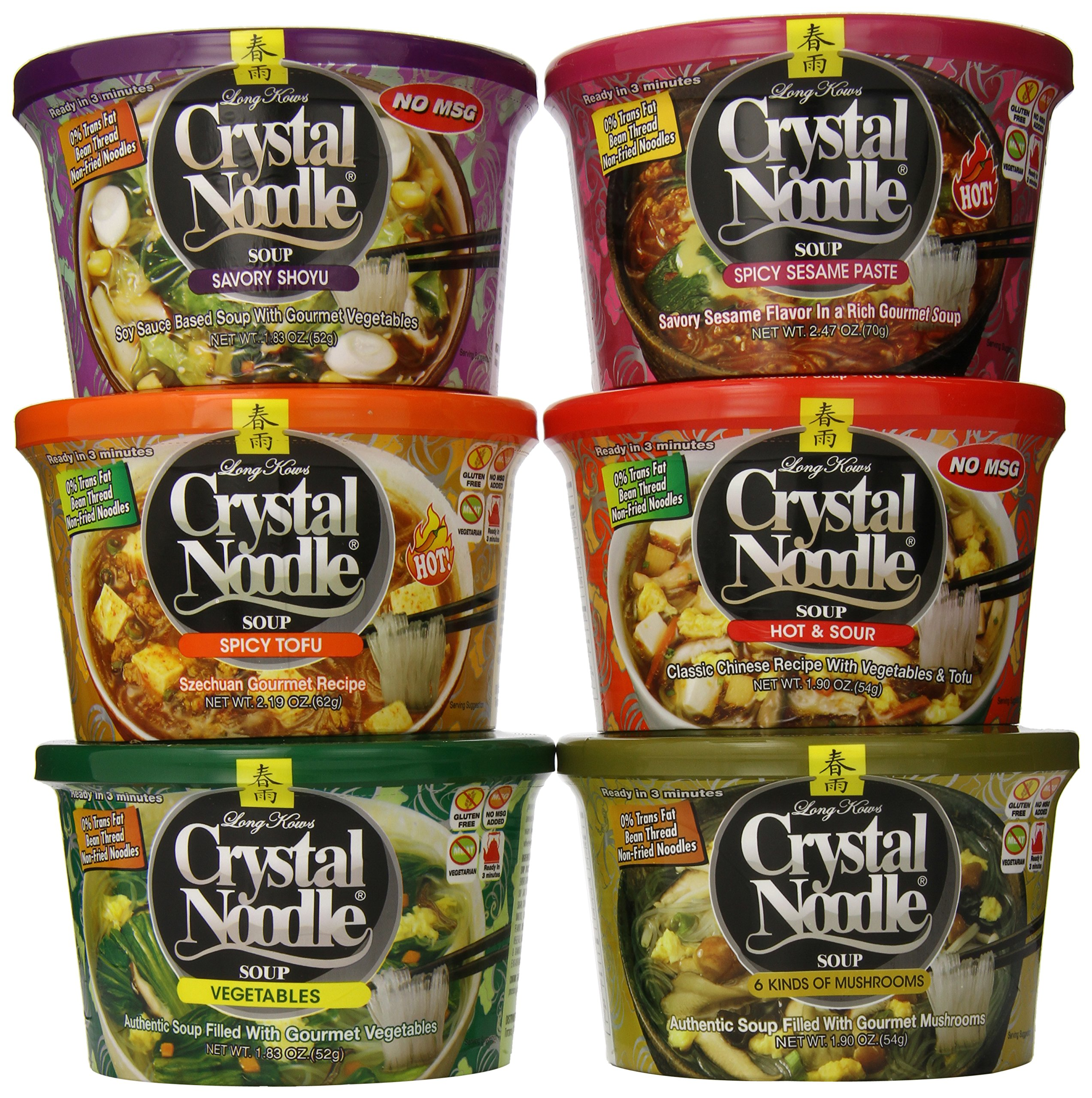 Crystal Noodle Soup, Variety Pack, 6 Count
