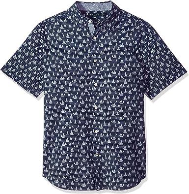 Nautica - Camisa de manga corta con botones para hombre - Azul - Small: Amazon.es: Ropa y accesorios