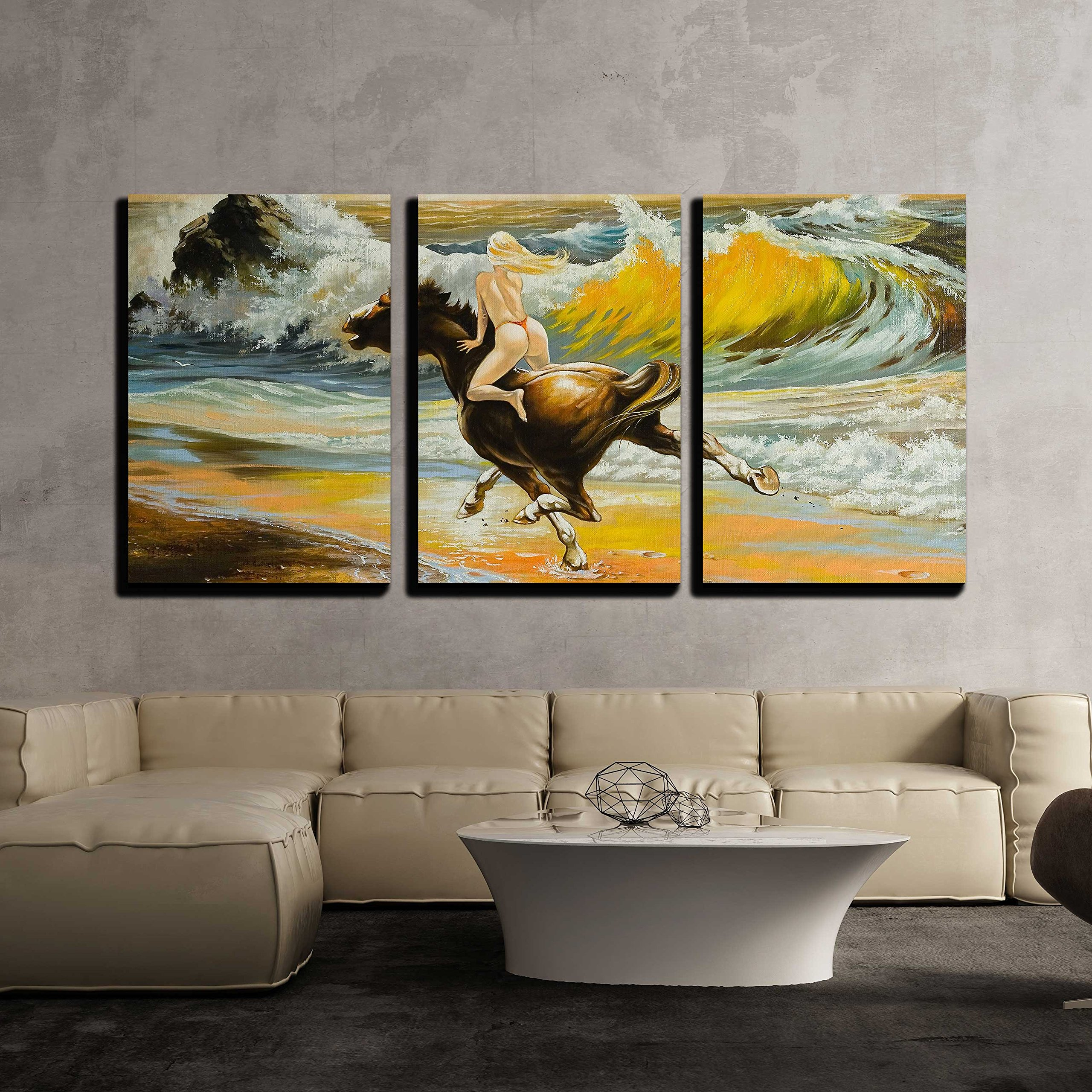 wall26 - 3 Piece Canvas Wall Art - The Girl Skipping on a Horse on Seacoast - Modern Home Decor Stretched and Framed Ready to Hang - 16''x24''x3 Panels