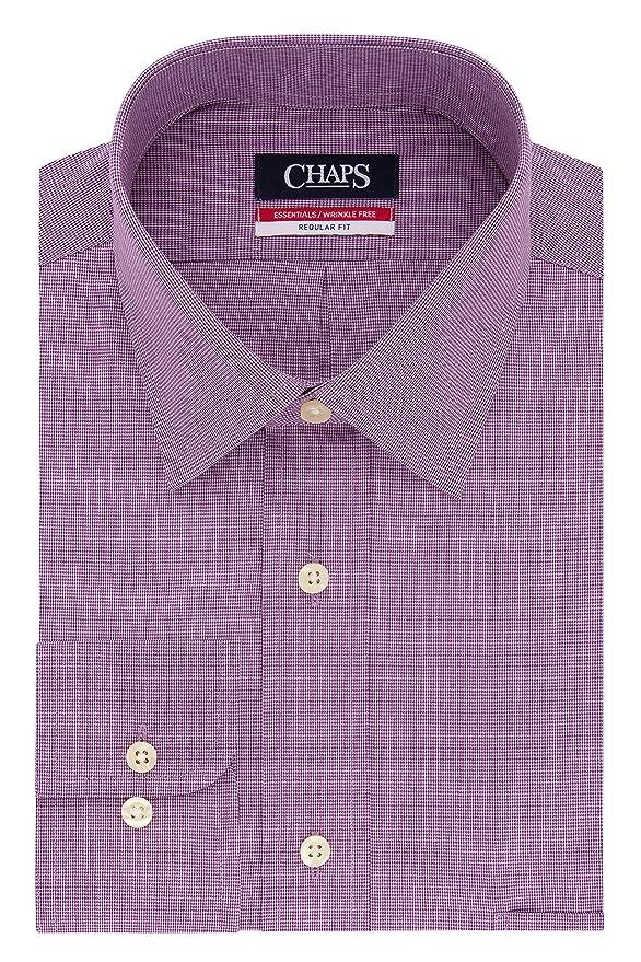 Chaps Dress Shirts Regular Fit Check Spread Collar Camisa de ...