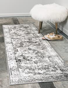 Unique Loom Sofia Collection Traditional Vintage Gray Runner Rug (2' x 7')