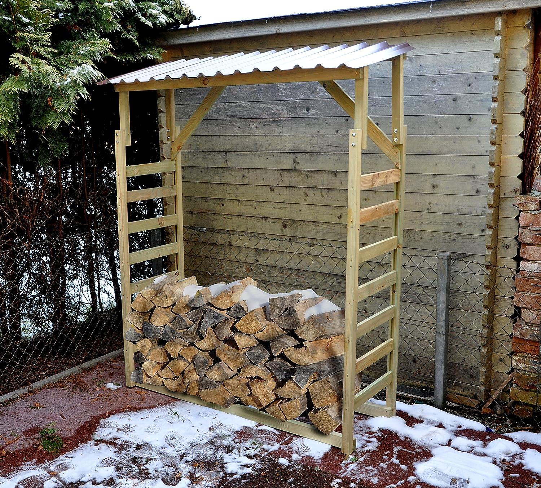 Estante para leña, armario de madera con techo de chapa trapezoidal: Amazon.es: Jardín