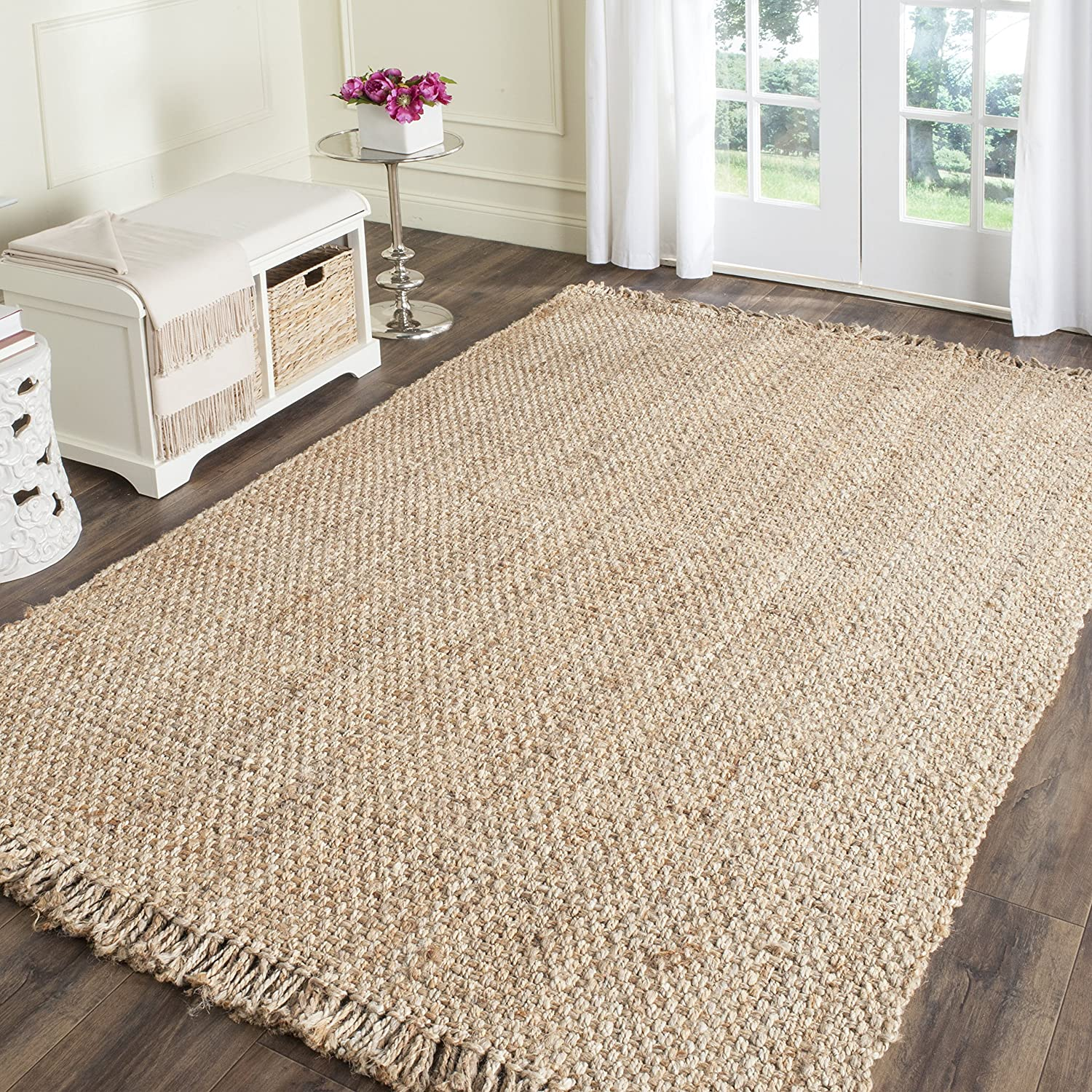 Amazon com safavieh natural fiber collection nf467a hand woven natural jute area rug 5 x 8 kitchen dining