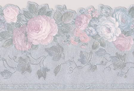 Pink White Blue Blooming Roses Vintage Floral Wallpaper Border Retro