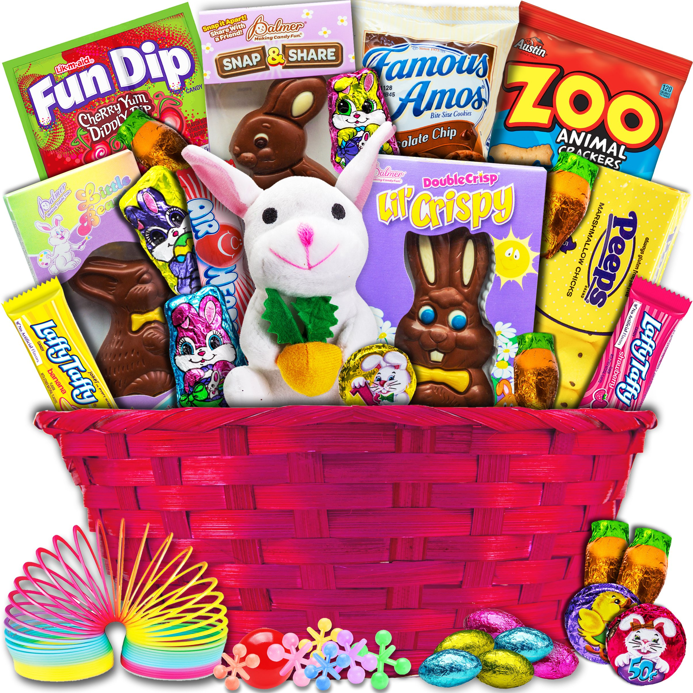 Amazon classic easter basket gourmet candy gifts grocery classic easter gift basket pink premade and shrink wrapped kids negle Images