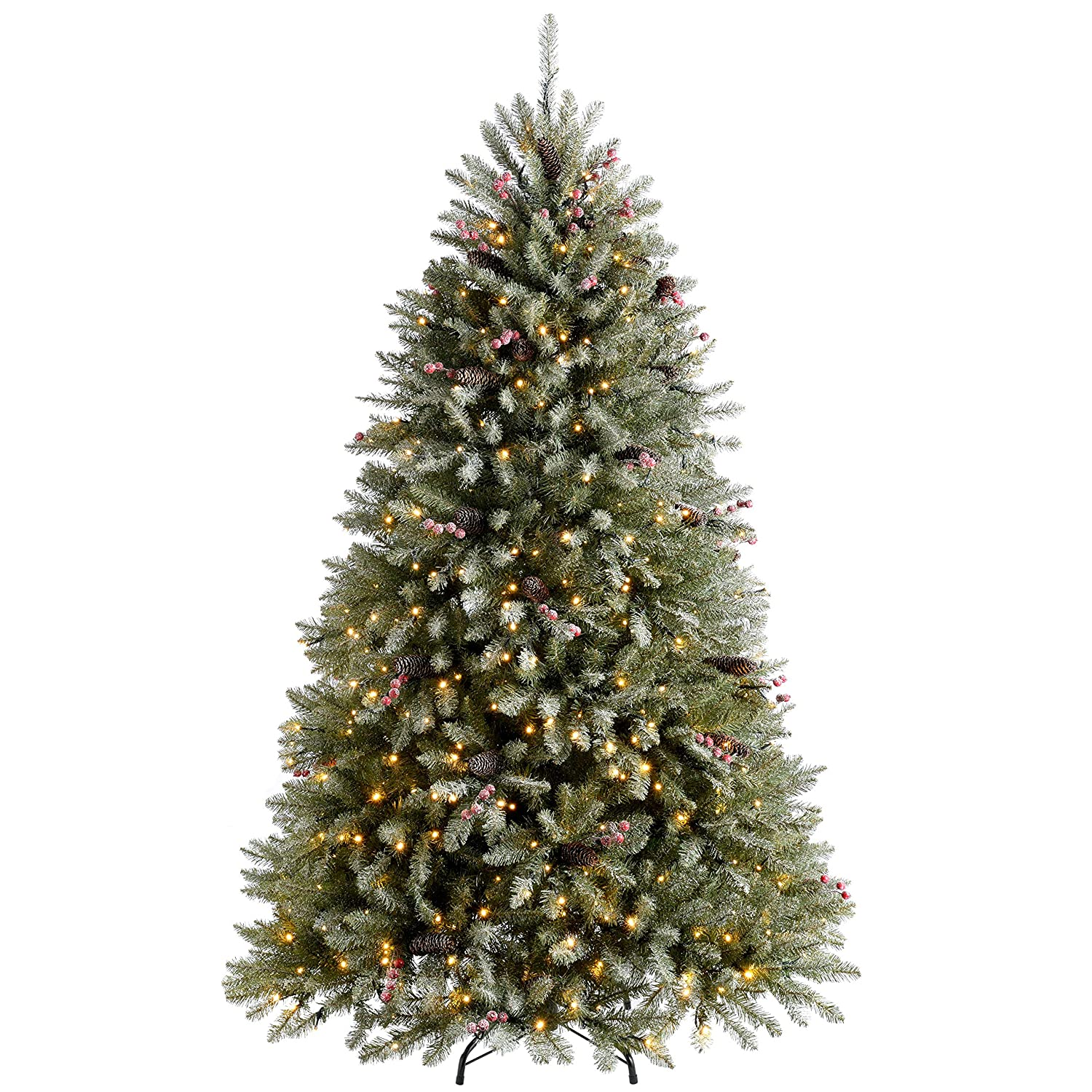 Werchristmas Pre Lit Decorated Snow Flocked Christmas Tree With 600 Warm White Led Lights Green White 7 Feet 2 1 M