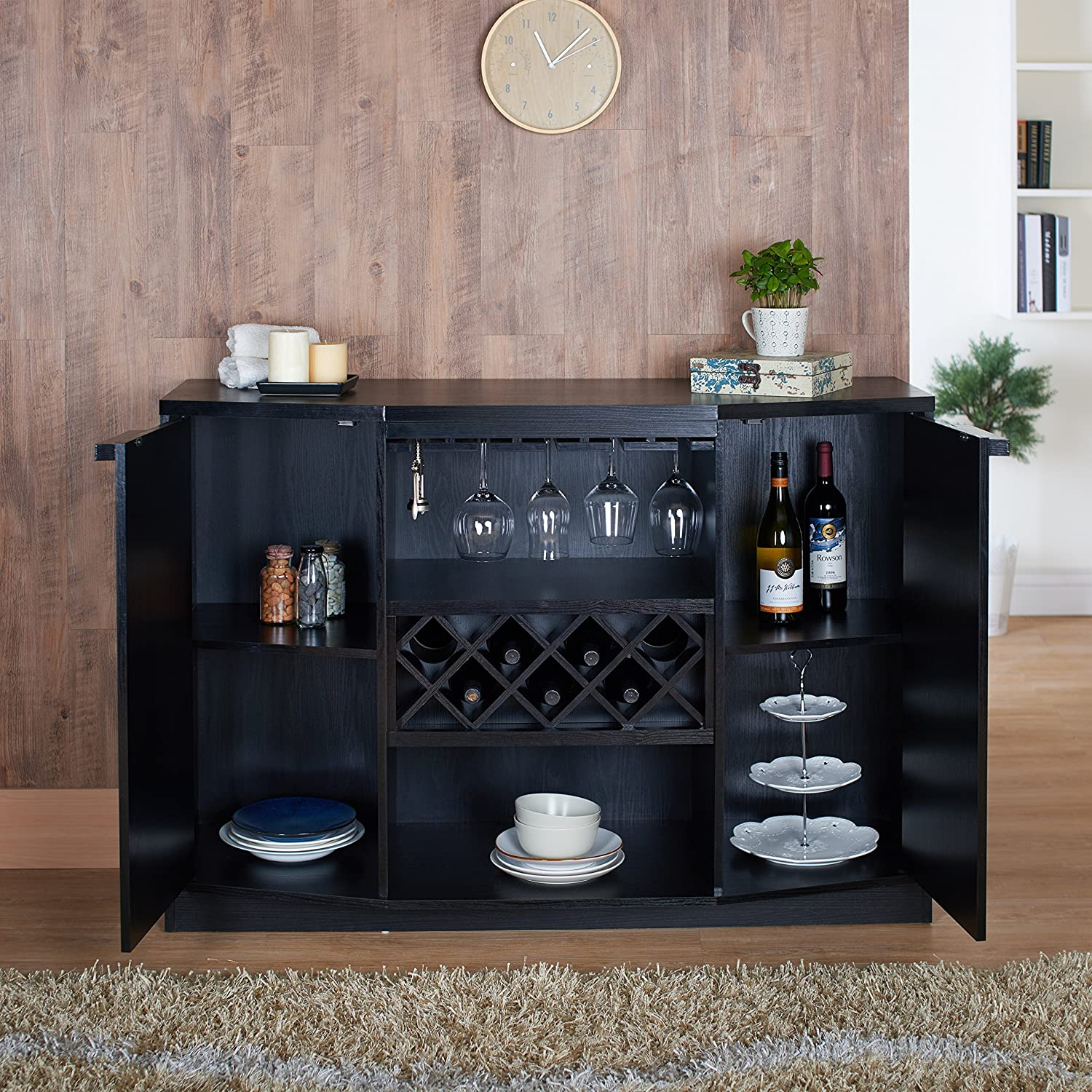Amazon.com   IoHOMES Annadel Wine Cabinet Buffet, Black   Buffets U0026  Sideboards