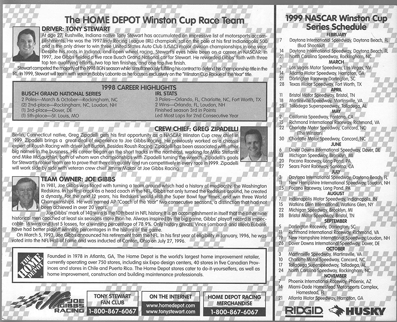 Tony Stewart 20 Home Depot Pontiac Nascar Hero Card 1999 10 X 8 Nm