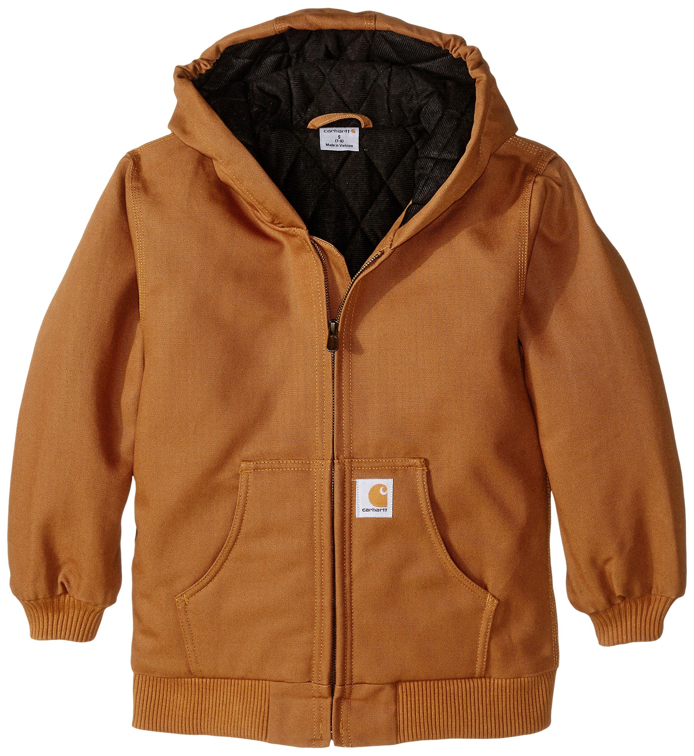 Carhartt Big Boys' Active Duck Jacket, Brown, Small-7/8