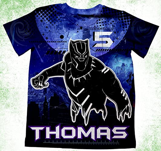 Amazon Personalized Black Panther Inspired Birthday Shirt Party Theme Boys Shirts Custom Tee