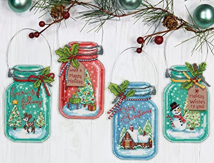 dimensions needlecrafts christmas ornament set counted cross stitch kit - Cross Stitch Christmas Decorations