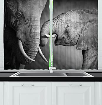 Modern Decor Kitchen Curtains By Ambesonne, Elephants Showing Affection  Artistic Wildlife African Spiritual Animals Safari