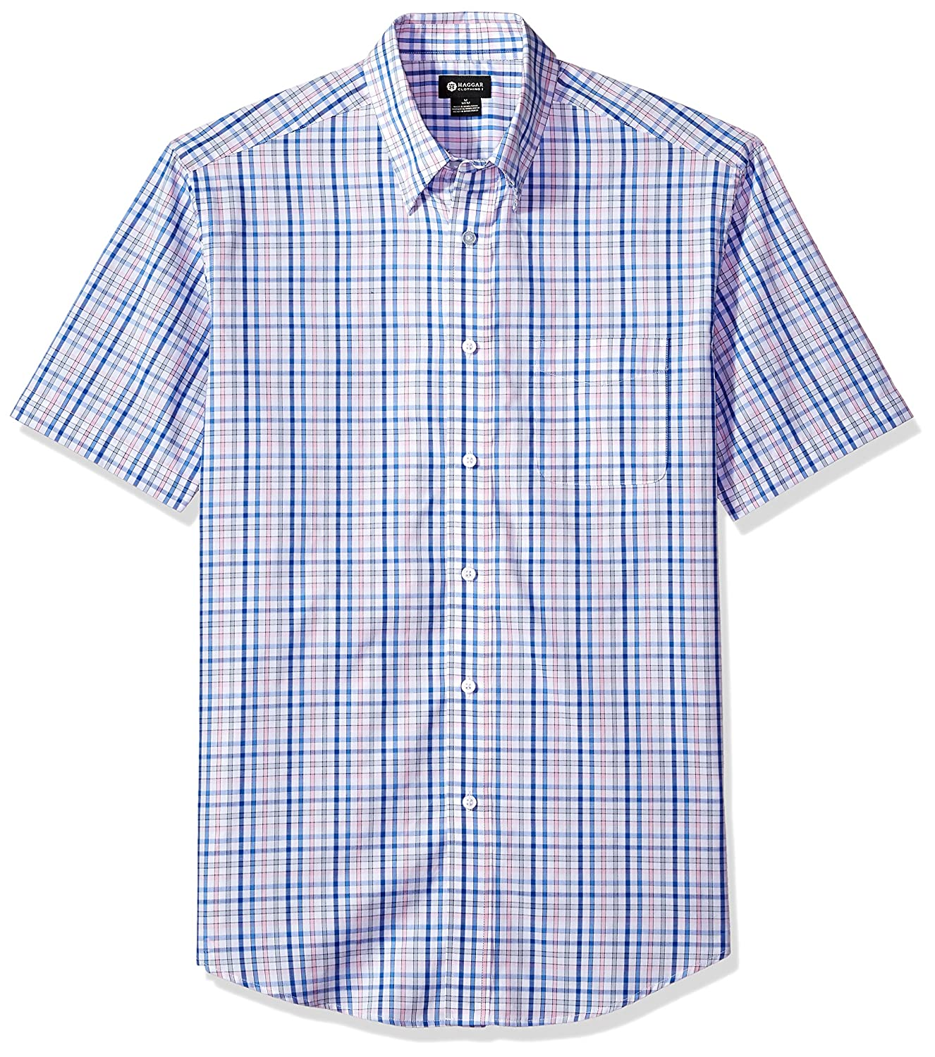Haggar Men's Short Sleeve Multi Plaid Shirt IWM286