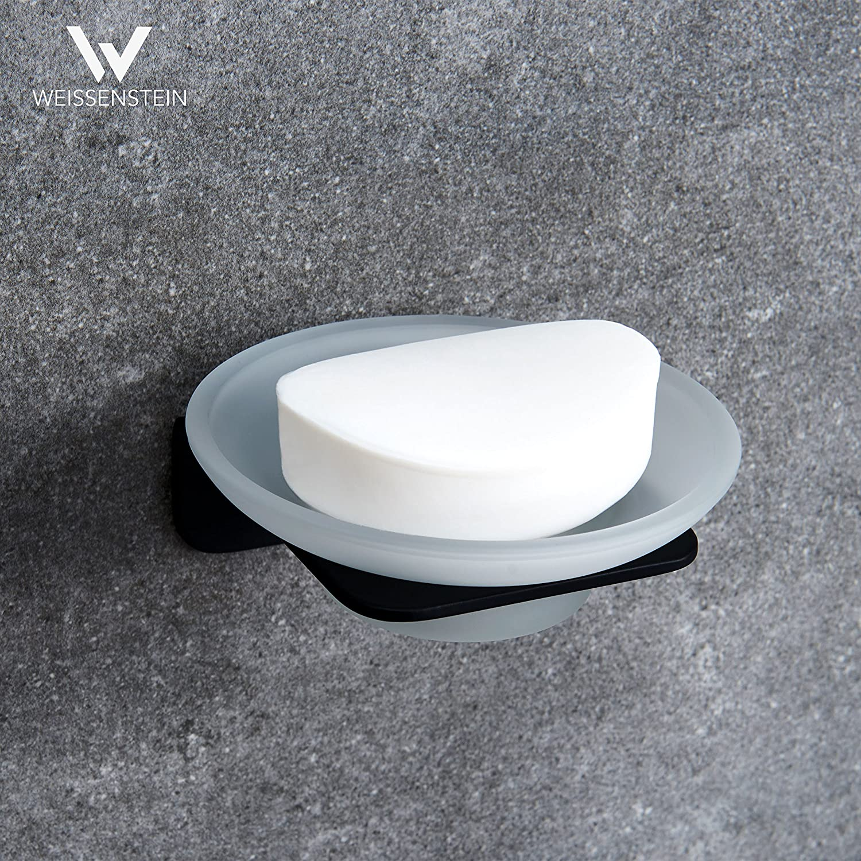 WEISSENSTEIN Jabonera Pared baño Adhesiva | Soporte para jabón de Vidrio y Acero Inoxidable | Jabonera Redonda Negra 11 x 11 x 11 cm: Amazon.es: Hogar