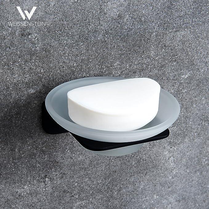 WEISSENSTEIN Jabonera de baño Pared Adhesiva | Soporte para jabón de Vidrio y Acero Inoxidable | Jabonera Redonda Negra 11 x 11 x 11 cm: Amazon.es: Hogar