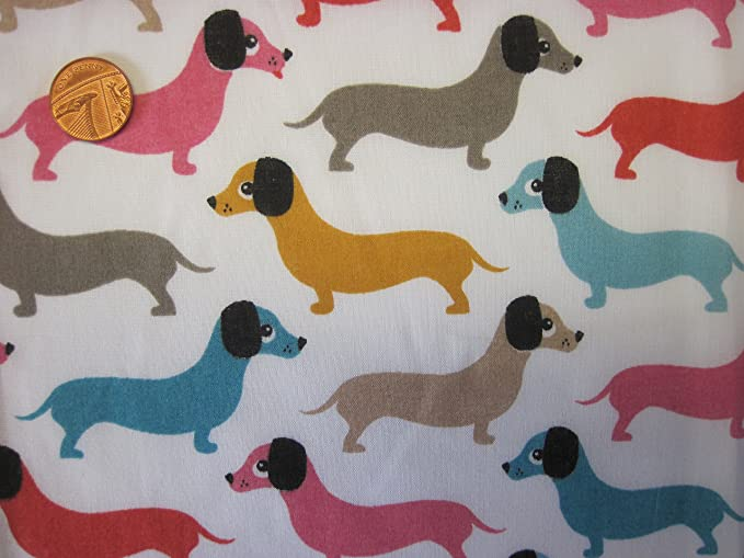 The Craft Junction Silly Wurst Hunde Dackel Welpen Polycotton Stoff ...