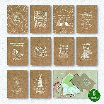 10 Postales Navidad con sobre impresas en papel kraft (10 ...