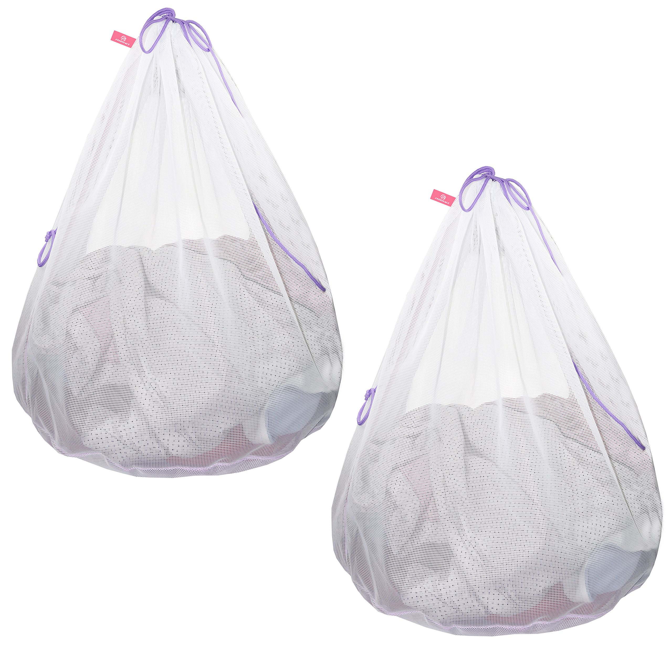Premium Quality Laundry Bag - Ultra Thick, Extra Durable & Breathable 120 g/m² Polyester-Fibre Mesh Material - Perfect For Household Use, College Dorms, Travels (Drawstring Version 2 Pack)