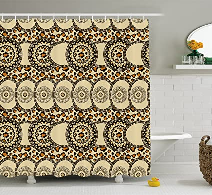 Ambesonne Zambia Shower Curtain Folk African Safari With Nature And Animal Effects Jungle Boho Design