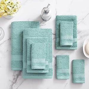 Welhome Basic 100% Cotton Towel (Duck Egg) - 8 Piece Set - Quick Dry - Absorbent - Soft - 434 GSM - Machine Washable - 2 Bath - 2 Hand - 4 Wash Towels