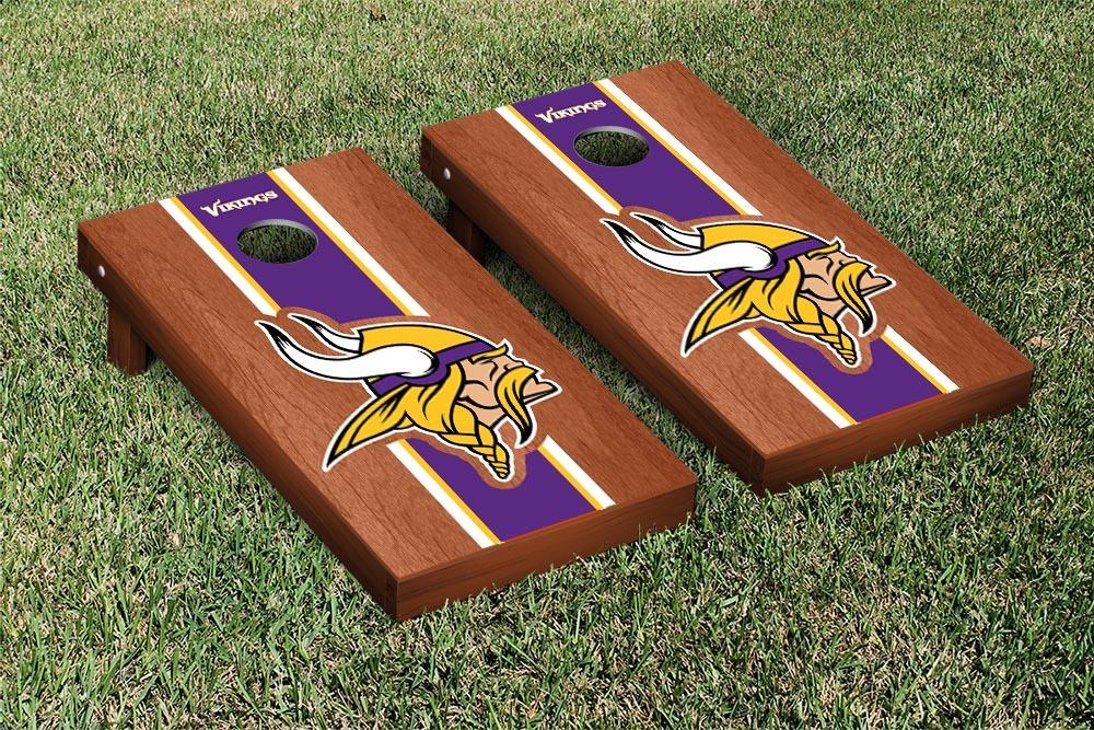 Minnesota Vikings NFL Football Cornhole Game Set Rosewood Stained Stripe Version 2