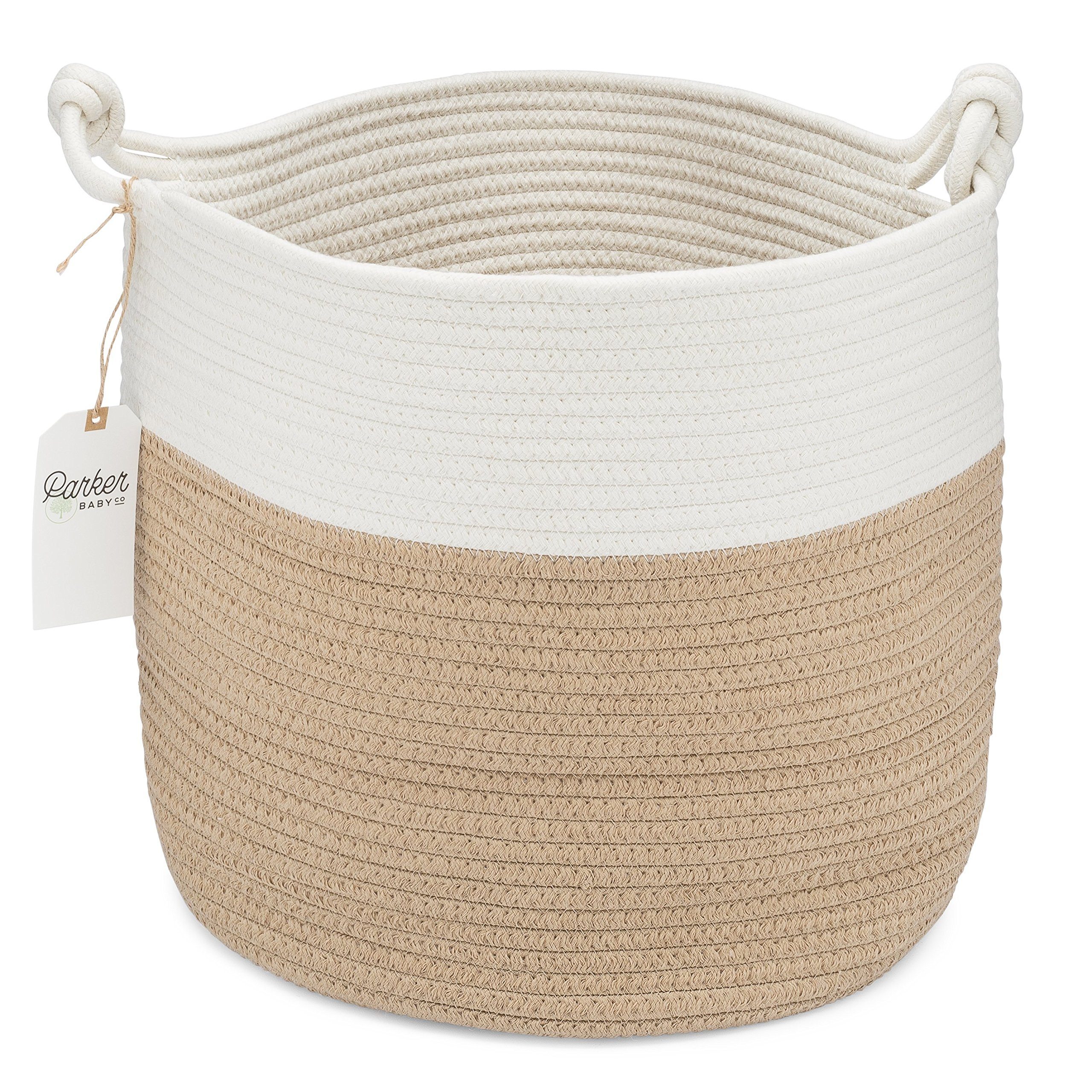 Parker Baby Nursery Storage Basket - Rope Storage Bin and Organizer for Laundry, Toys and Baby Blankets by Parker Baby Co.
