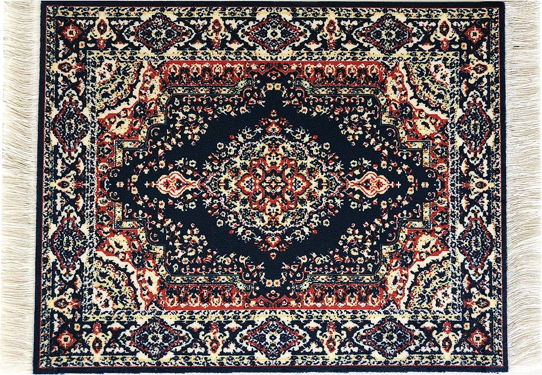 "Inusitus Dollhouse Carpet - Miniature Dolls House Rugs - Toys 10x7 1"" Scale (Dark Blue)"