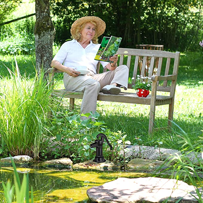 Relaxdays, Negro, Bomba Agua Manual Decorativa para Jardín, Hierro Fundido, 22,5 x 13,5 x 10,5 cm: Amazon.es: Jardín