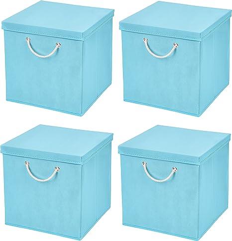 Caja de almacenaje, 30 x 30 x 30 cm, con tapa, azul claro, 4 unidades: Amazon.es: Hogar