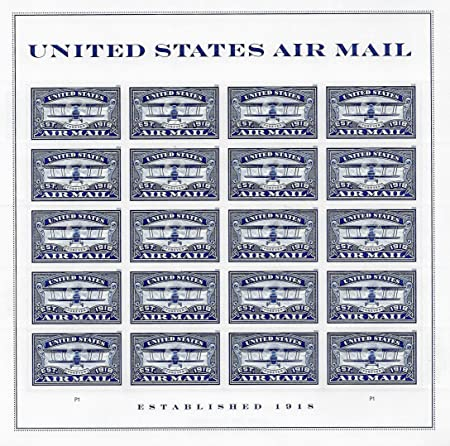Sello USPS Forever: correo aéreo azul (azul, 1 hoja (20 sellos): Amazon.es: Oficina y papelería