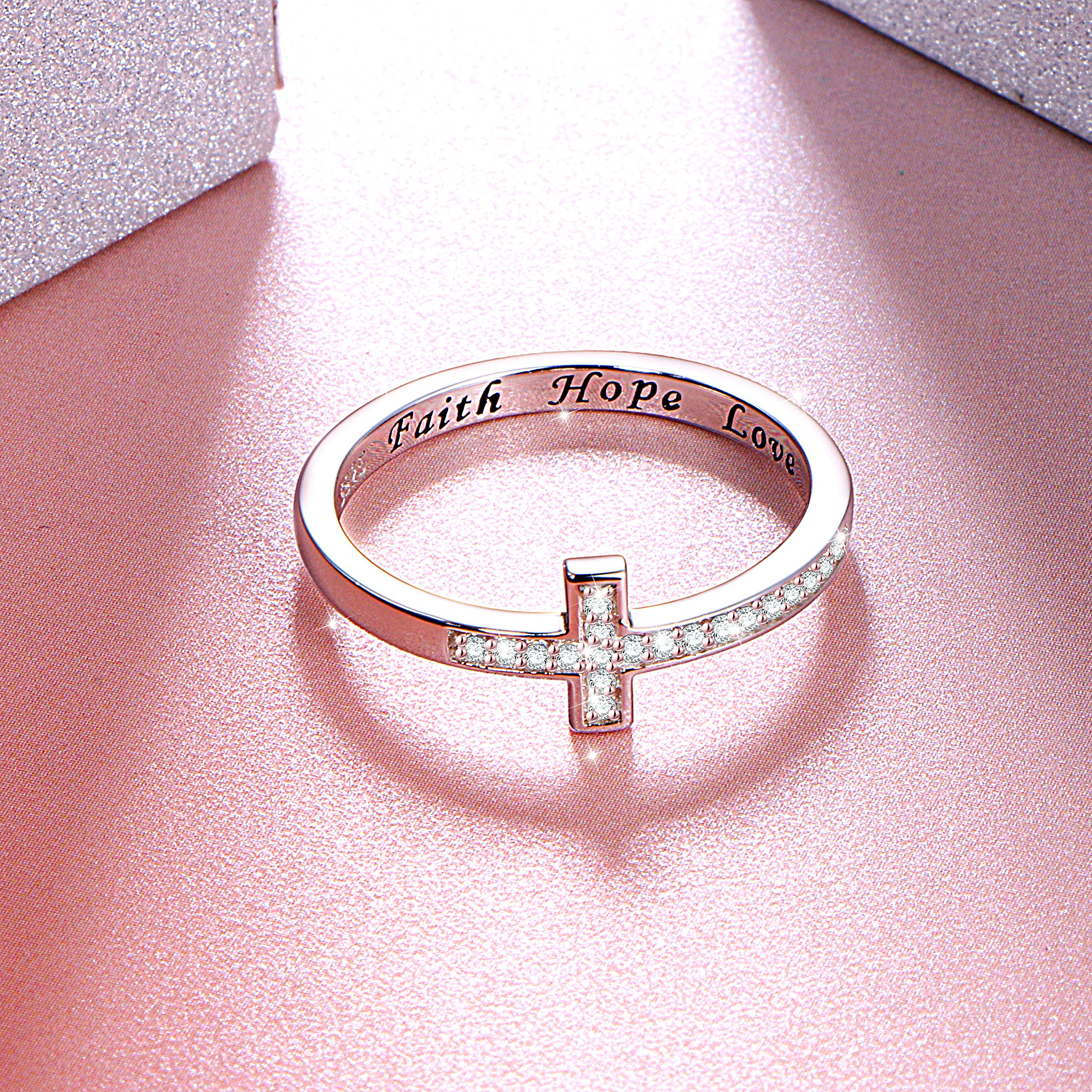DAOCHONG Inspirational Jewelry Sterling Silver Engraved Faith Hope Love Sideway Cross Ring, Size 6 7 8 (8) by DAOCHONG (Image #4)