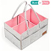 Diaper Caddy, Nursery Storage Bin & Tote Bag for Car Travel and Portable Organizer for Girls & Boys for Changing Table, Great Registry Shower Gift by In Real Life