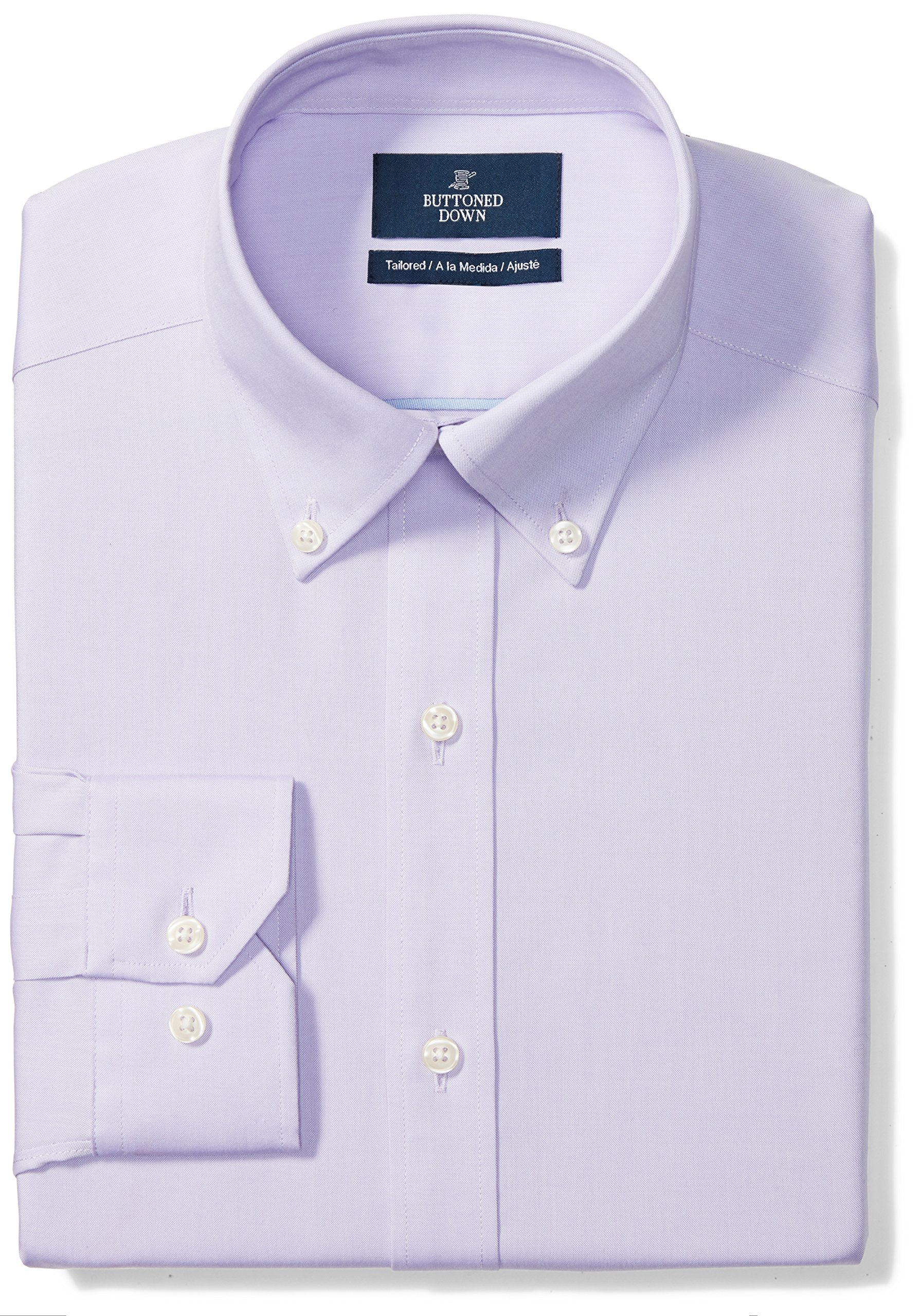 Buttoned Down Men's Tailored Fit Button-Collar Solid Non-Iron Dress Shirt (No Pocket), Purple, 16.5'' Neck 35'' Sleeve