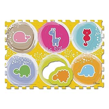 Chicco - Puzzle y Alfombra con Animales, 6 Piezas