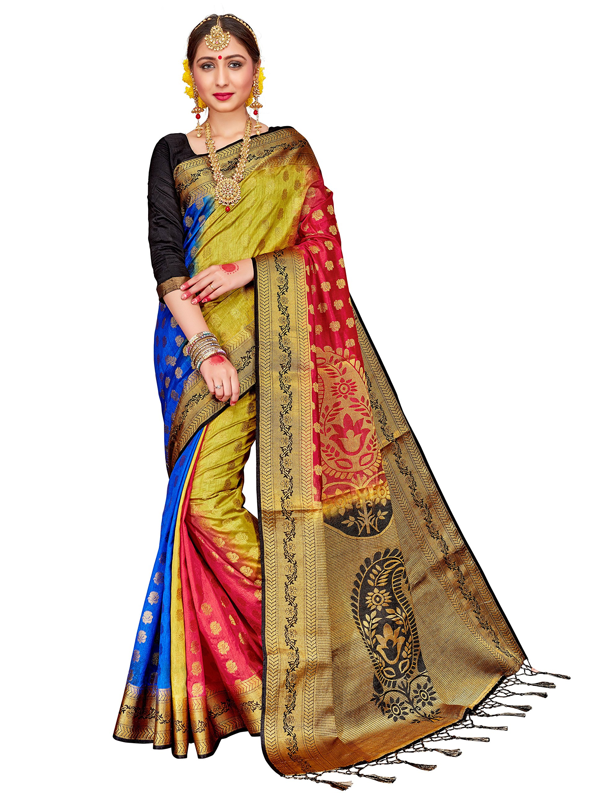 ELINA FASHION Sarees Women's Banarasi Art Silk Woven Work Saree l Indian Wedding Ethnic Sari & Blouse Piece (Multi)