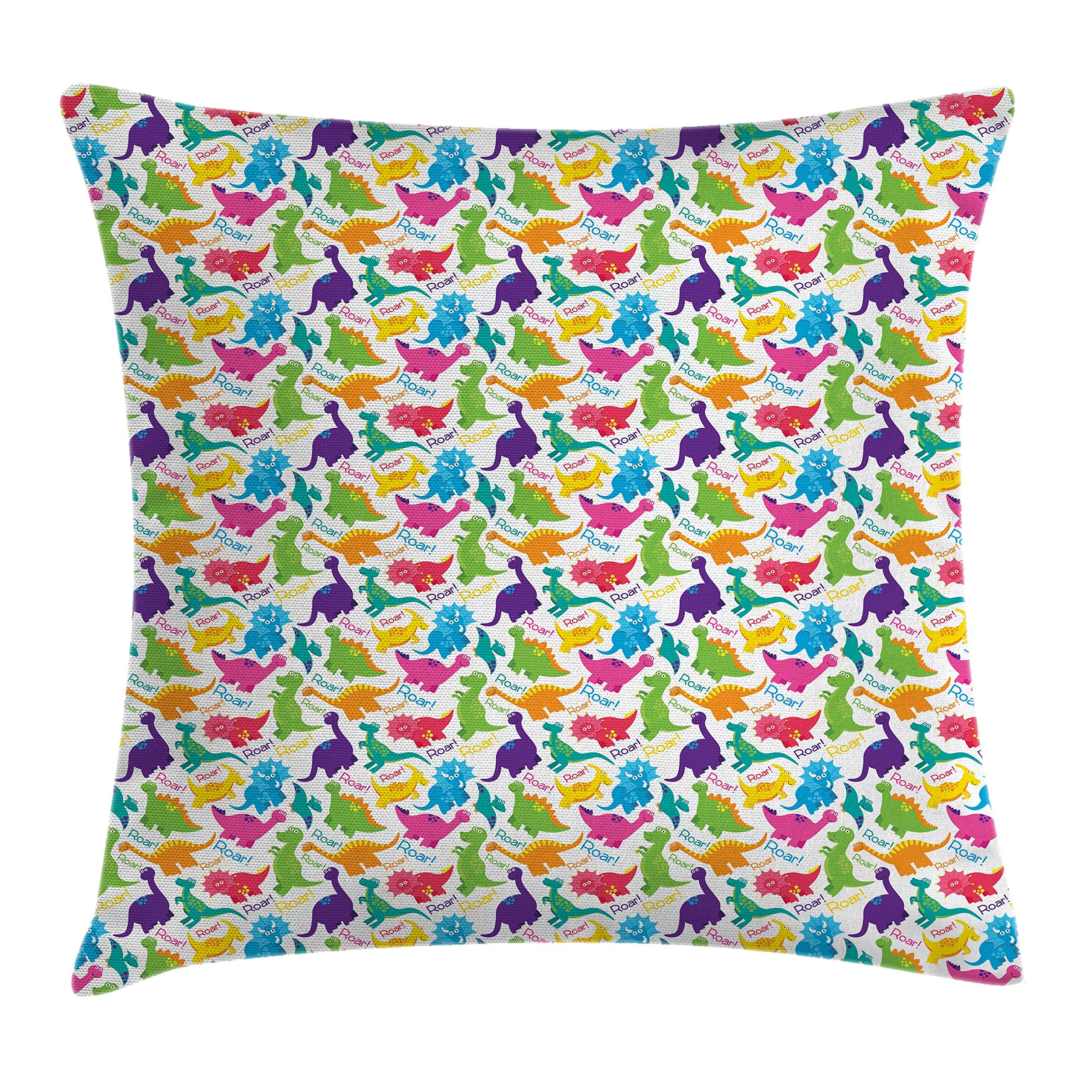Ambesonne Jurassic Decor Throw Pillow Cushion Cover, Dinosaur Archaeological Historical Monster Wild Creature Cartoon Children, Decorative Square Accent Pillow Case, 18 X 18 inches, Multicolor