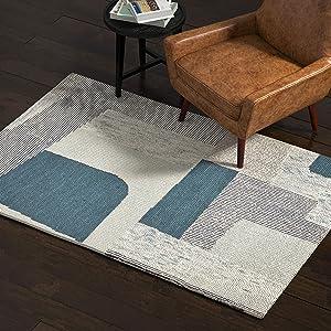 Amazon Brand – Rivet Modern Geometric Area Rug, 4 x 6 Foot, Blue Multicolor