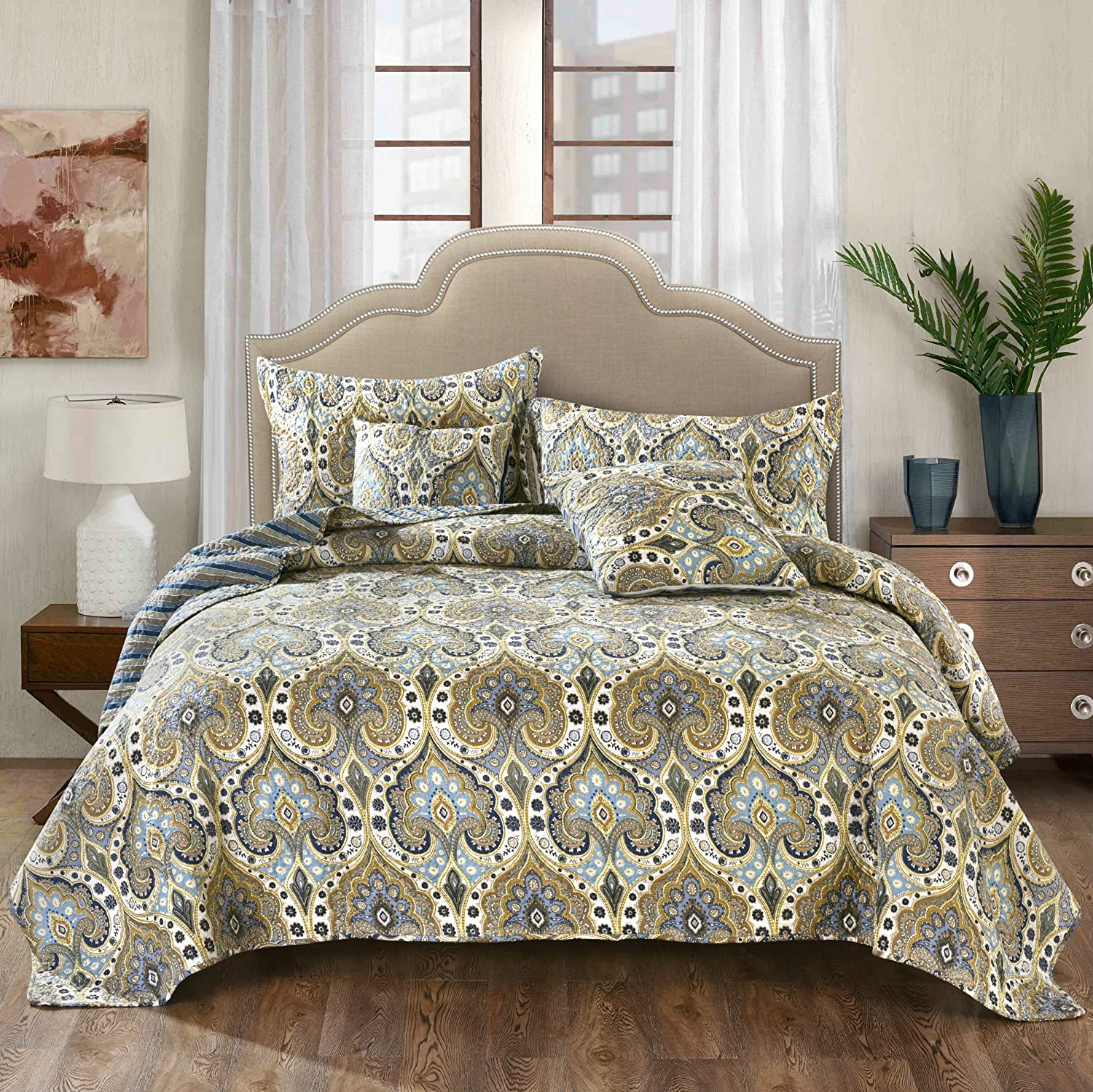 Tache Home Fashion Bohemian Spades Quilted Coverlet Bedspread Set - Bright Vibrant Multi Colorful Olive Green Navy Blue Floral Print - King - 3-Pieces