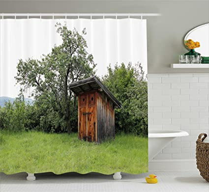 Ambesonne Outhouse Shower Curtain Wooden Little Hut Barn Shed Cottage In Nature Forest Image