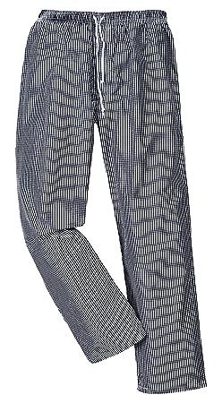 Portwest C079CKRXL Pantaloni Bromley da Chef, Bianco/Nero, XL