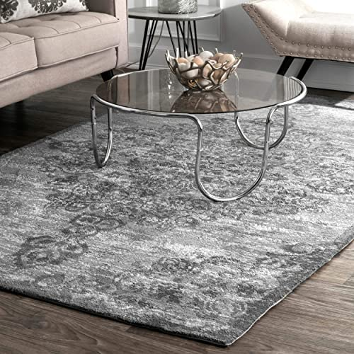 nuLOOM Alcala Distressed Floral Area Rug, 6 x 9 , Grey