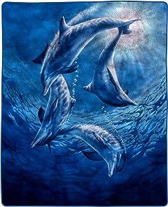 "Lavish Home 66-B Heavy Fleece Blanket with Ocean Dolphins Pattern (74"" x 91""), Multicolor"