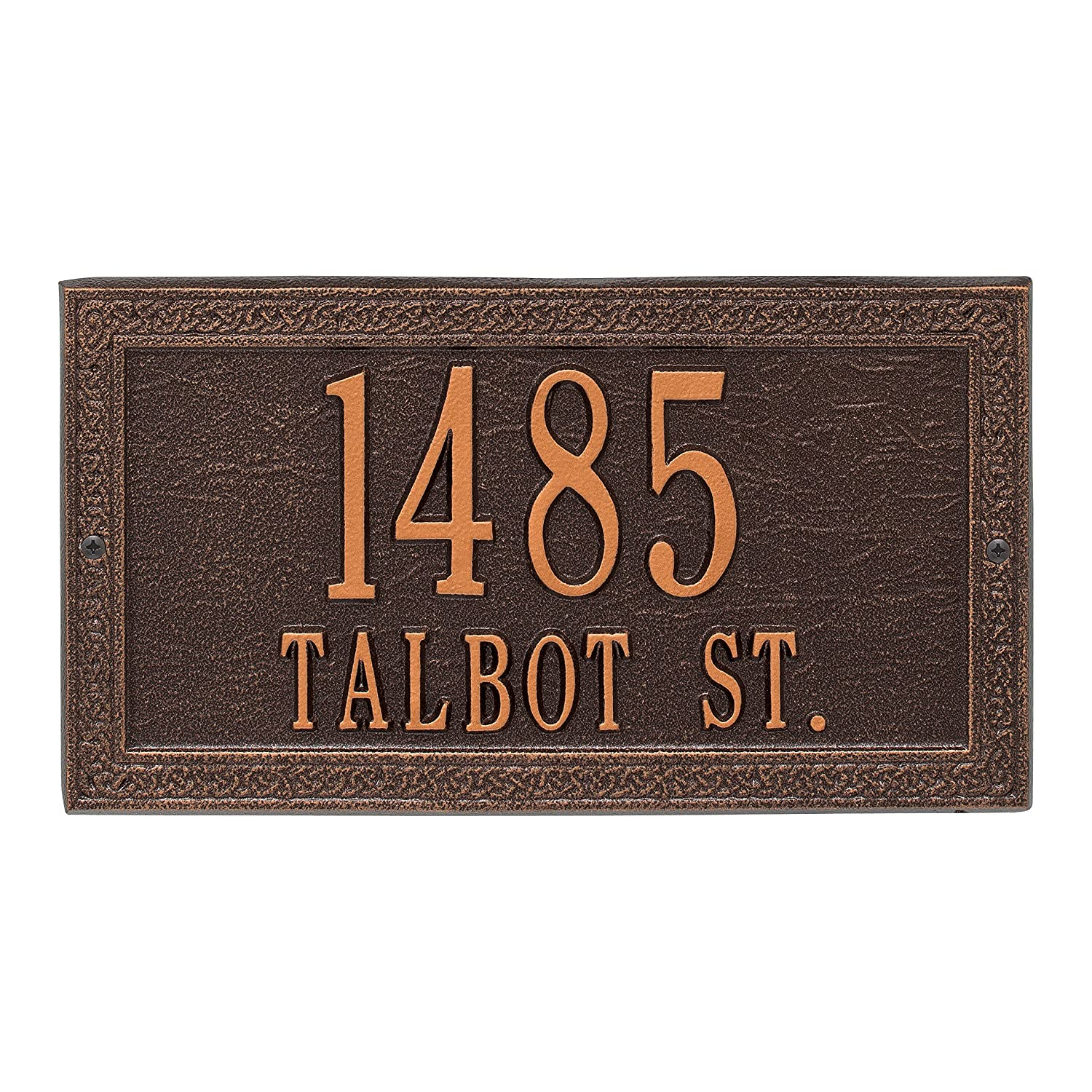 Whitehall Personalized Indoor/Outdoor Cast Irish Celtic Cornerstone Address Plaque Sign with House Number and Street Name (Antique Copper) Whitehall Products